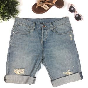 Levi's Bermuda Folded Hem Distressed Shorts
